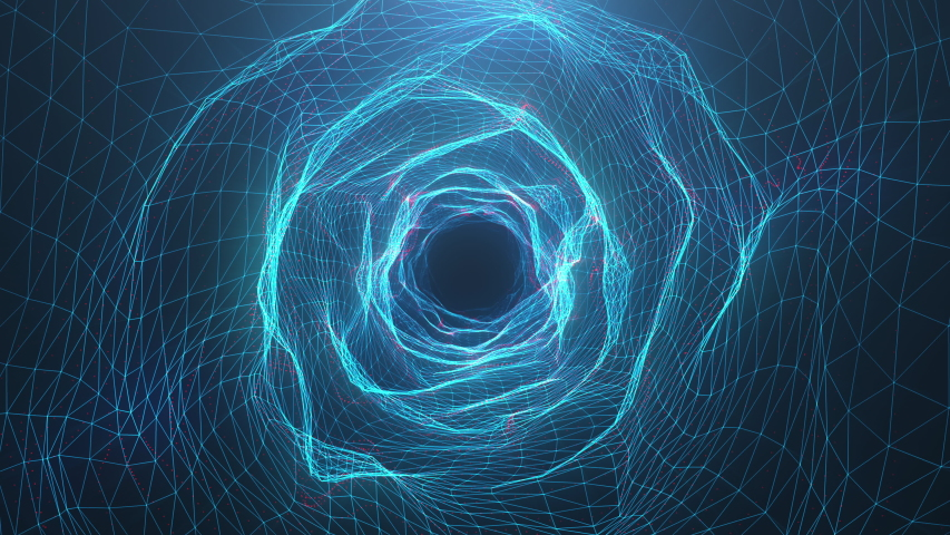 Abstract motion digital wormhole, tunnel consisting blue sparkling particle and lines. Way through the digital network beautiful blue particles. Seamless Loopable 3D 4K animation