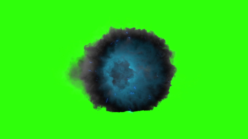 Thanos portal.  3d animation cloud gate appearing and on green screen. Royalty-Free Stock Footage #1034257736