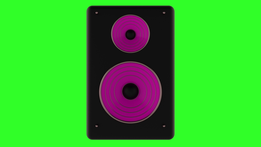 3d animation of a loudspeaker on a green screen. Looped.