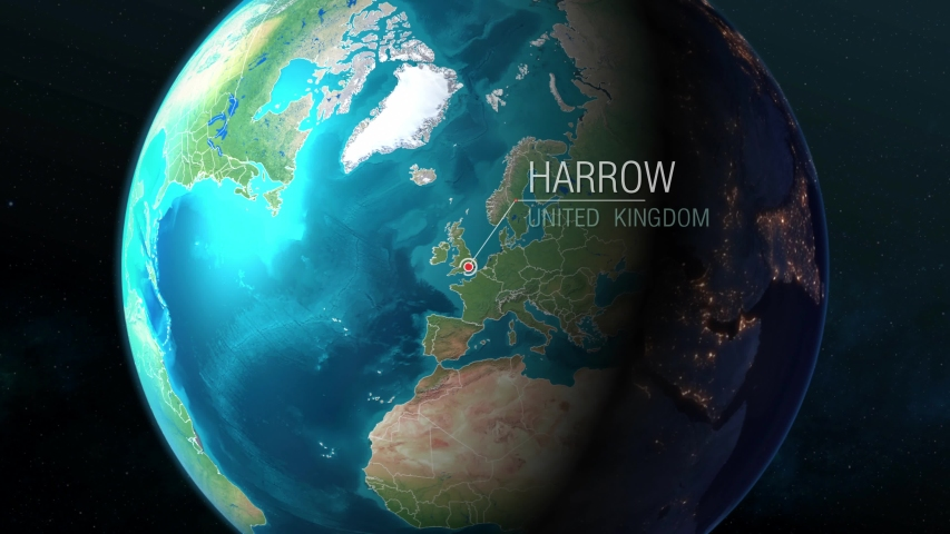 United Kingdom - Harrow - Zooming from space to earth #1034273798
