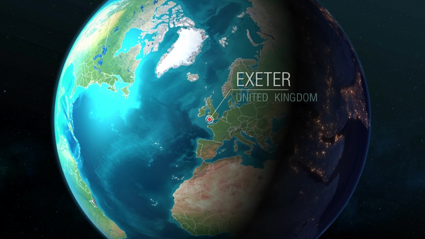 United Kingdom - Exeter - Zooming from space to earth #1034273843
