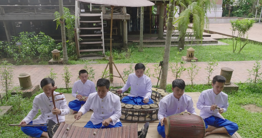 Young People Are Perform Thai Traditional Music  | Shutterstock HD Video #1034280404