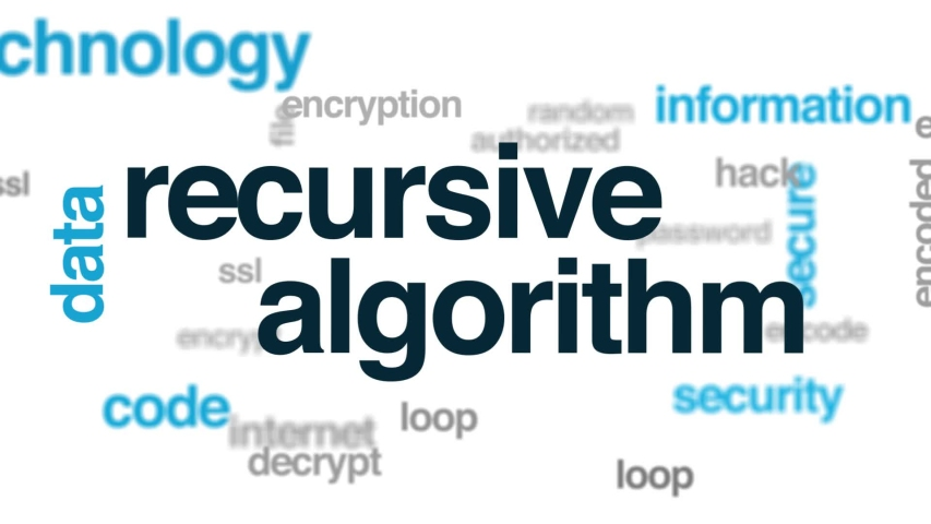 Recursive algorithm animated word cloud. Kinetic typography.   Shutterstock HD Video #1034292788