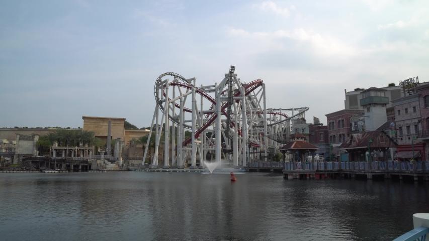 Universal Studio, Singapore - MARCH 8, 2019 : Roller coaster in Universal Studios Singapore at Singapore Resorts World Sentosa.