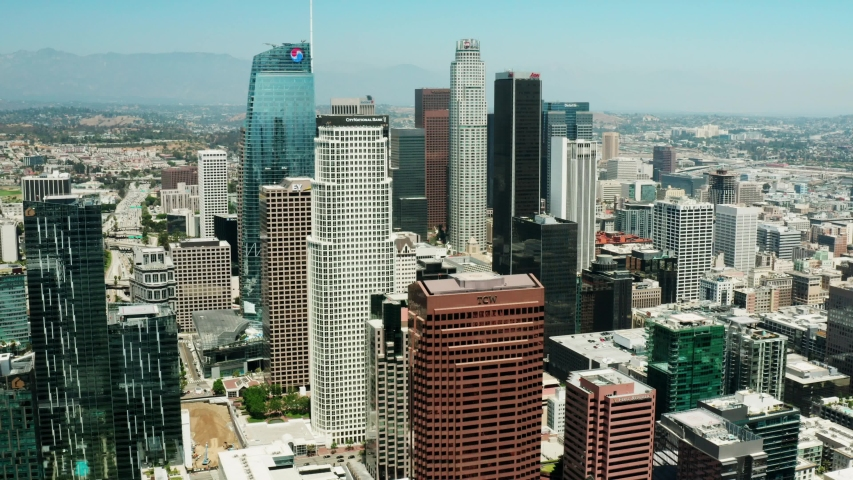 Los Angeles, CA/USA - 07.29.2019: view of Downtown LA from sky, shooting on drone, business centre of Los Angeles at daytime, cityscape. | Shutterstock HD Video #1034325167