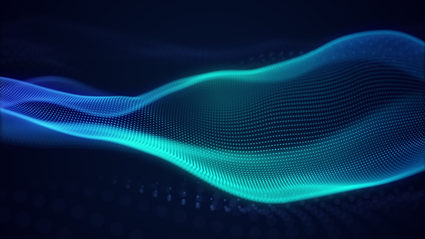 beautiful abstract wave technology background with blue light digital effect corporate concept Royalty-Free Stock Footage #1034356469