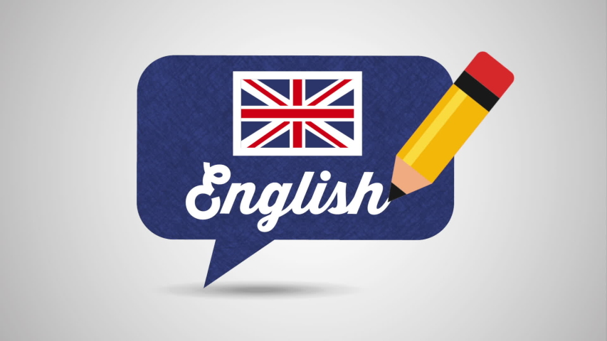 Speech bubble with british flag learn english , hd video animation | Shutterstock HD Video #1034368847