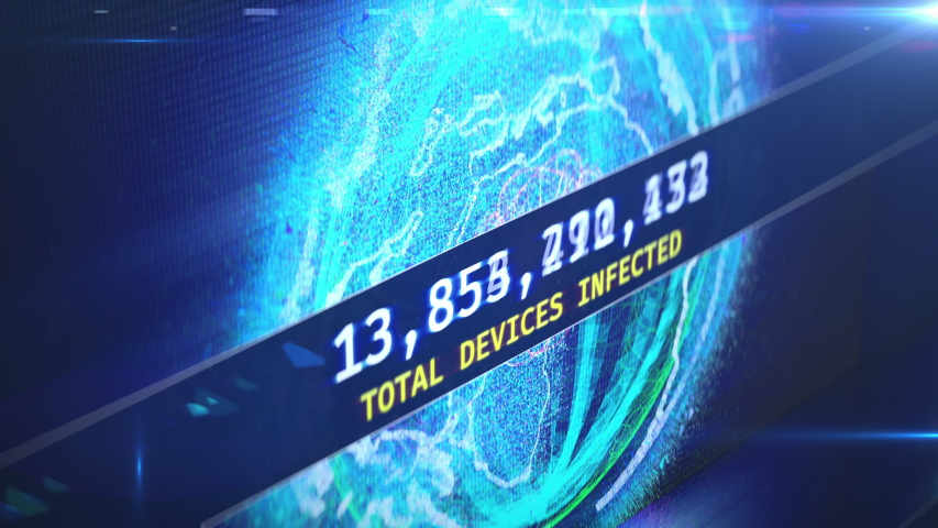 Countdown of infected devices, hacked routers, bot farm attack, hacking, breach. Firewall message, alert, hacking, world computer virus | Shutterstock HD Video #1034373359