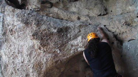 Bilecik / Turkey - September 25, 2016: Rock climbing sports that young climber