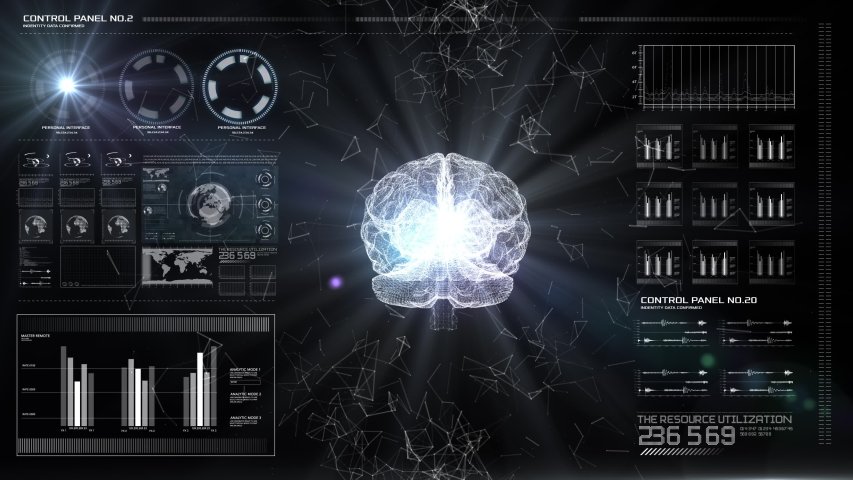 AI Artificial intelligence digital brain. Digital panel with central brain of humanity. Data deep learning computer machine. Royalty-Free Stock Footage #1034427410
