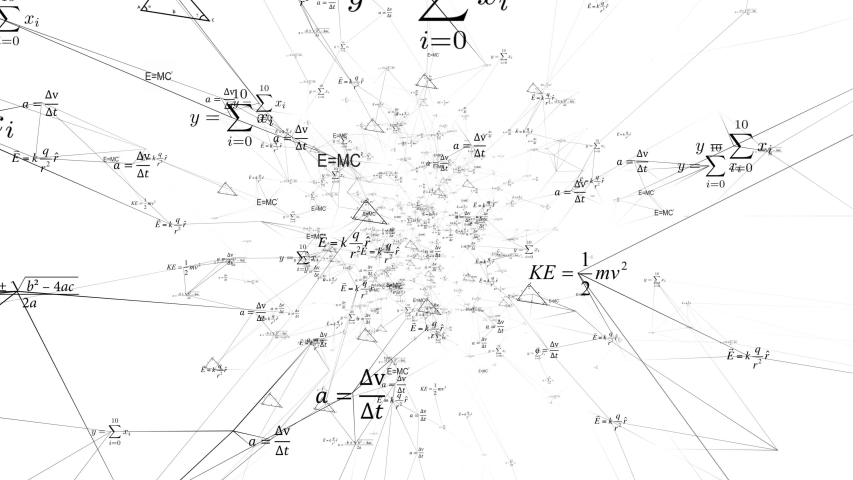 Mathematical and Physical formulas floating in 3D space. Tunnel design with mathematical , physical science formulas flying around on the walls, floor and ceiling of the scene. | Shutterstock HD Video #1034444510