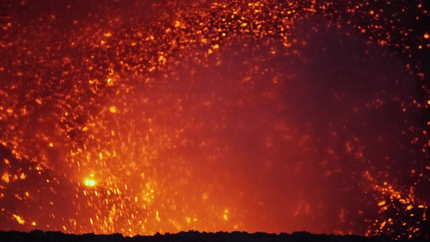 Volcanic Eruption, Close Up, Slowmotion. Lava From Active Volcano Comes Out in Atmosphere. Vanuatu, Oceania