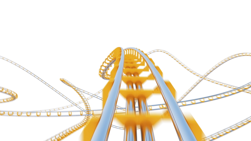 Beautiful Ride on Roller-Coaster Extremely Fast on White Background Seamless. Looped 3d Animation of Abstract Roller Coaster Attraction Curvy Railway. Entertainment Concept. 4k Ultra HD 3840x2160.