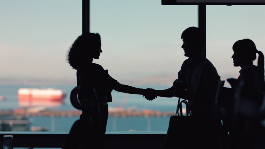 silhouette business people shaking hands consultant greeting international clients with handshake planning partnership deal female executive meeting shareholders in corporate office at sunset Royalty-Free Stock Footage #1034474561