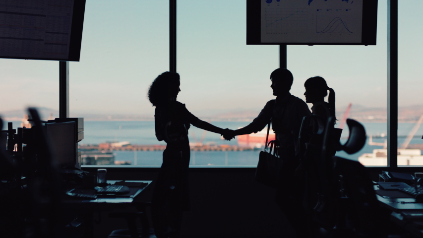 Silhouette business people shaking hands consultant greeting international clients with handshake planning partnership deal female executive meeting shareholders in corporate office at sunset
