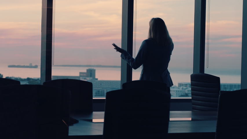 Silhouette business woman using smartphone talking to client financial advisor negotiating deal sharing expert advice having phone call working late in office looking out window at sunset