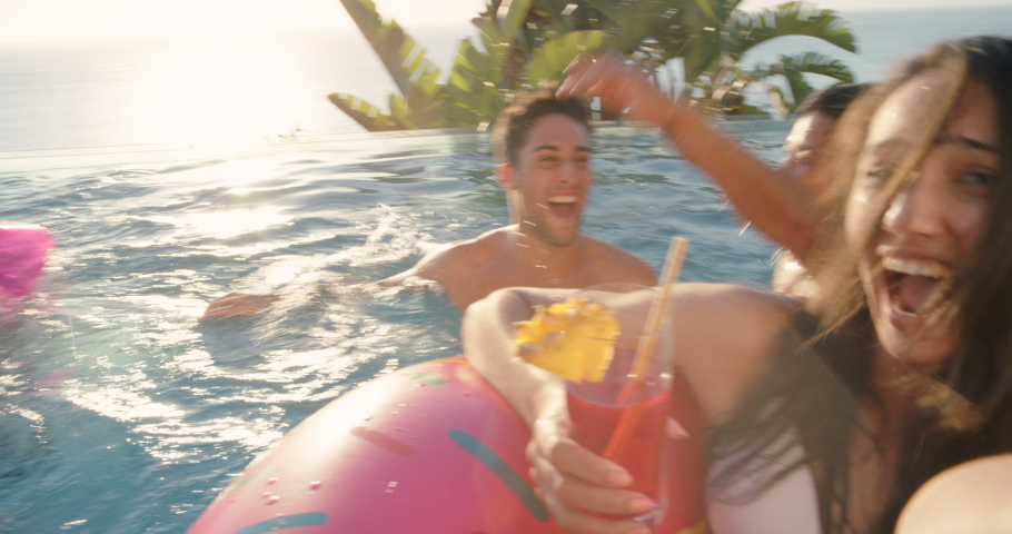 Beach friends woman taking video using smartphone in swimming pool sharing fun summer vacation at luxury hotel resort on social media enjoying travel holiday 4k | Shutterstock HD Video #1034496659