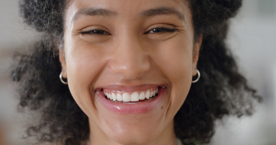 Portrait beautiful african american woman smiling looking happy feeling confident happy independent female testimonial concept 4k footage | Shutterstock HD Video #1034504624