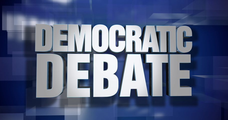 A blue dynamic 3D Democratic Debate news transition and title page animation. 5 and 2 second options included. Green screen.  | Shutterstock HD Video #1034508266