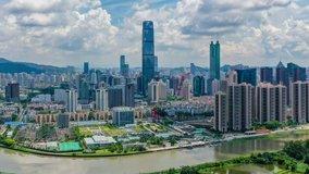 4k aerial hyperlapse video of Shenzhen CBD