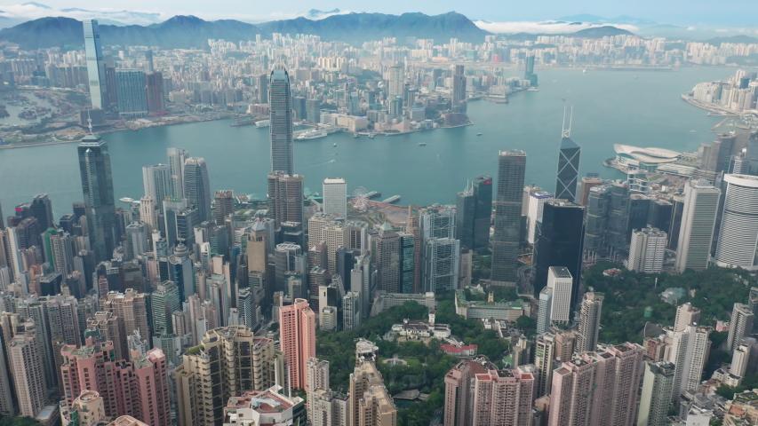 Hong Kong, China - May 28, 2019: 4k aerial video of Victoria Harbour in Hong Kong