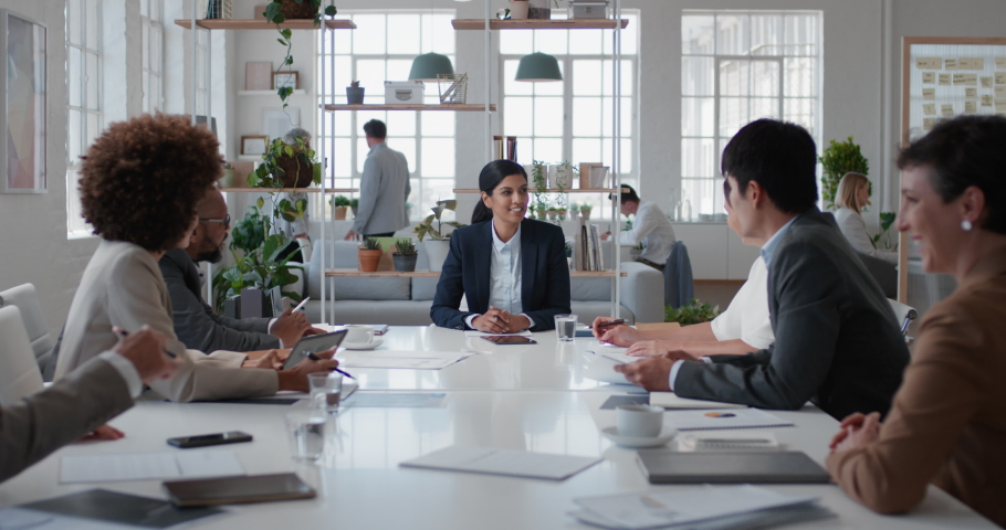 young indian business woman executive meeting corporate leaders discussing development ideas with shareholders brainstorming in office boardroom Royalty-Free Stock Footage #1034536082