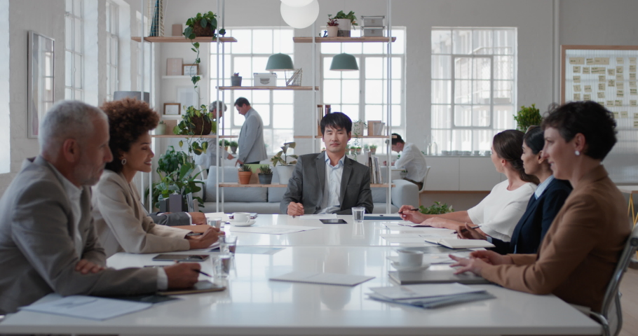 Asian businessman executive meeting corporate leaders discussing development ideas with shareholders brainstorming in office boardroom | Shutterstock HD Video #1034536085
