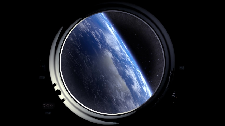 A view of the Earth through the porthole of a spaceship. The horizon is turning left. International space station is orbiting the Earth. Realistic atmosphere. 3D Volumetric clouds. Space. ISS. 4K. | Shutterstock HD Video #1034561402