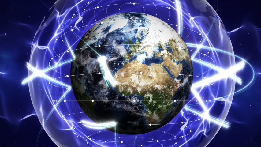 Earth, Connections Network Concept, Zoom In / Zoom Out, Animation, Rendering, Background, Loop, 4k    Shutterstock HD Video #1034592989