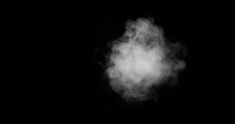 Real white cloud vapor isolated on black background with visible droplets