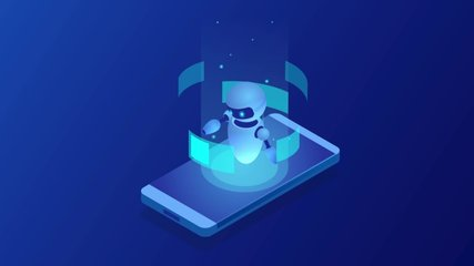 Isometric Bot and cybersecurity, artificial intelligence concept. AI and business IOT concept. Dialog help service. ChatBot free robot virtual assistance. HD Video.