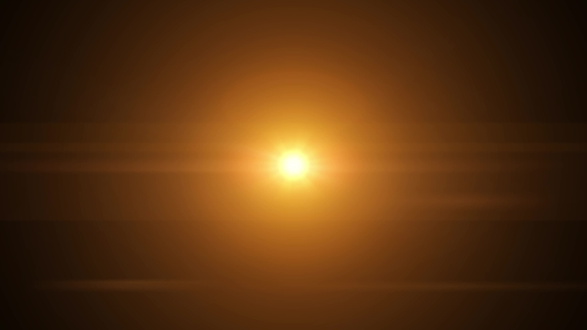 Bright orange light with lens flare effect appearing on the left and disappearing on the right on black background, vertically centered | Shutterstock HD Video #1034624333