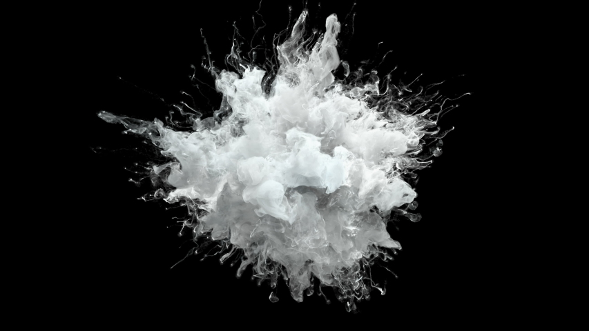 Color Burst - white smoke powder explosion fluid ink paint particles slow motion alpha matte isolated on black #1034675591