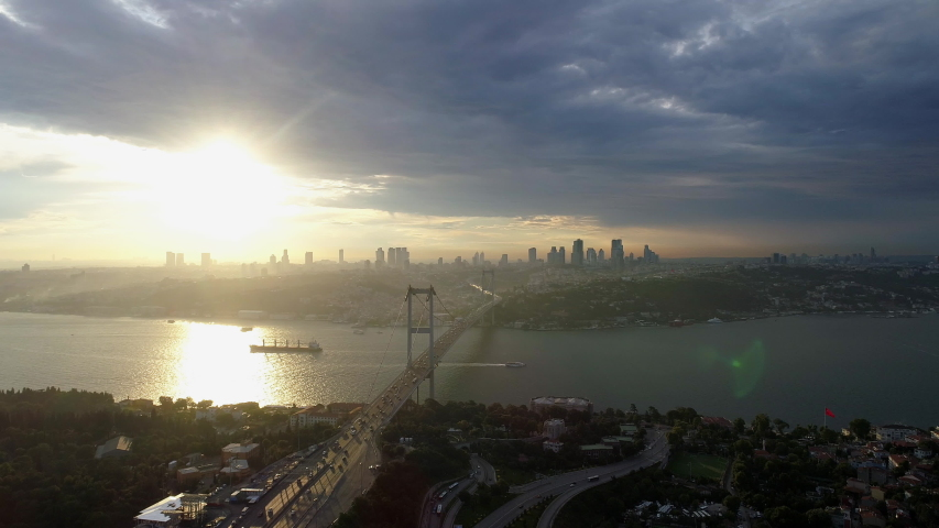 Aerial view of sunset on Istanbul Bosphorus Bridge | Shutterstock HD Video #1034684240