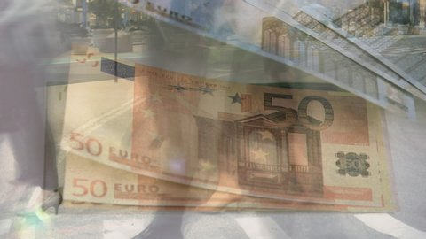 Animation of fast motion of people walking in a city with Euro banknotes floating in the background