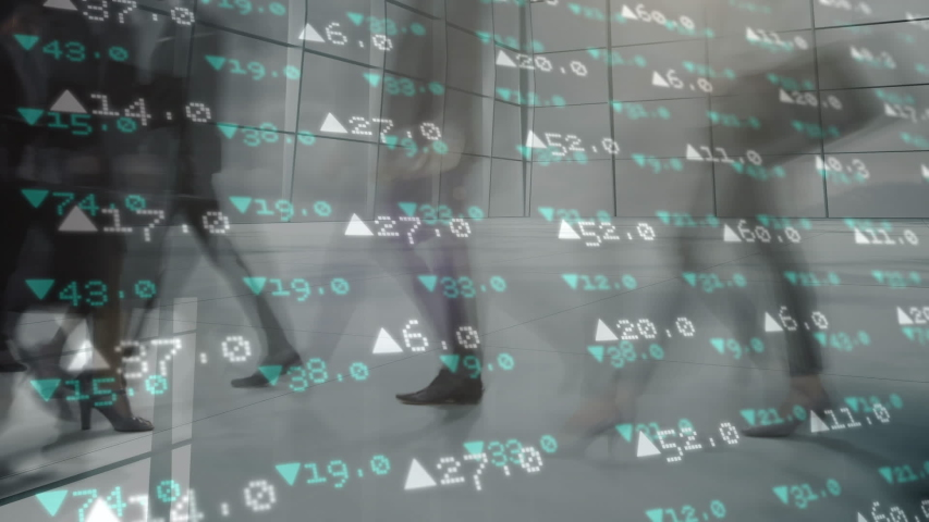 Animation of people walking in fast motion in a street with financial data moving in the foreground #1034698628