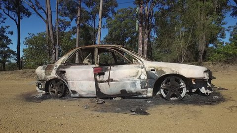 Hunter Valley , New South wales / Australia - 07 23 2018: Burnt out car in the Australian Bush