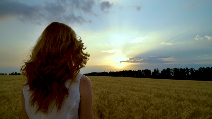 Panoramic back view of woman watching sunlight breaking through clouds at sunset   Shutterstock HD Video #1034722097