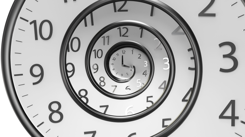 Round Clock Time running backwards 3D Rendering isolated from the white background | Shutterstock HD Video #1034723993