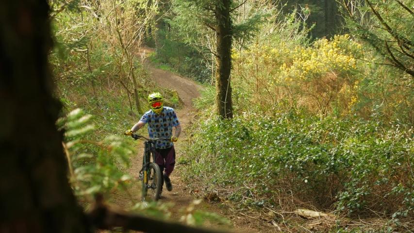 Barnstaple , Devon / United Kingdom (UK) - 04 25 2019: Mountain biker pushes up a hill