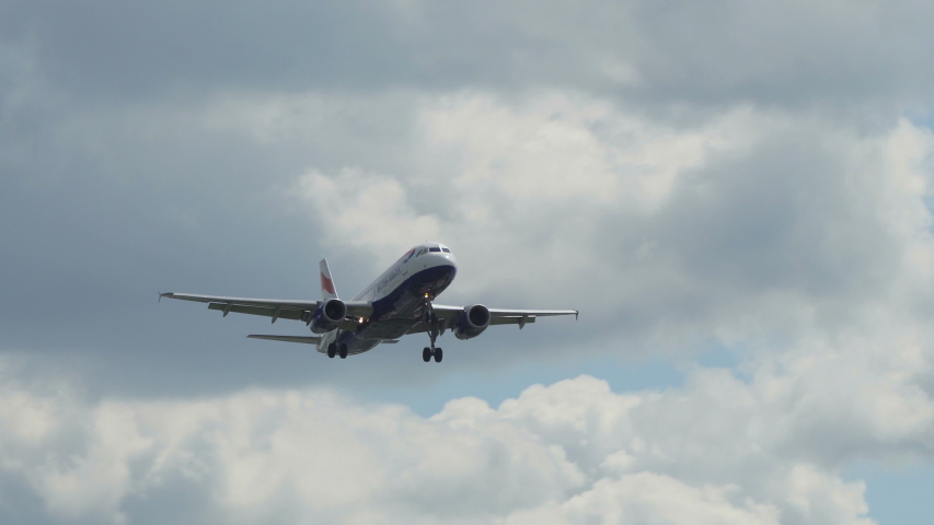 London Heathrow, United Kingdom - 05 12 2019: 4k British Airways plane extreme close-up landing 5 | Shutterstock HD Video #1034741789