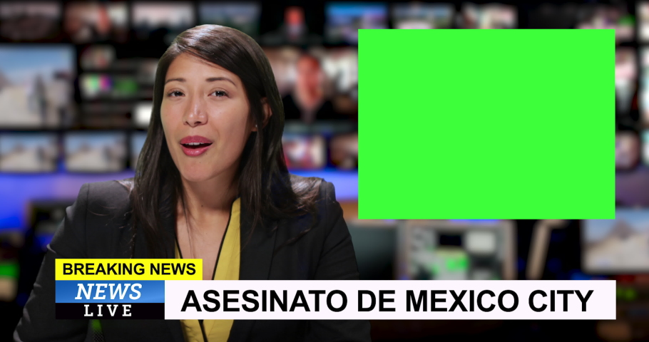 MS Female reporting live from Mexico City with breaking news | Shutterstock HD Video #1034745572