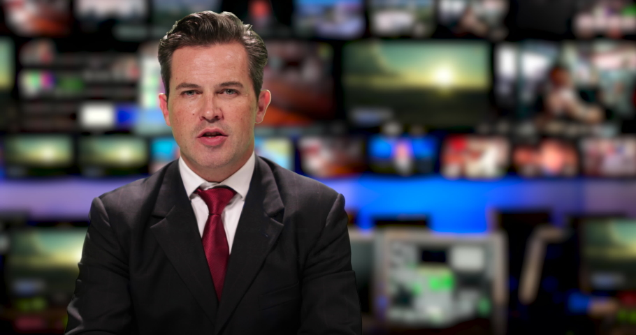Male News presenter reading the evening news about global warming Royalty-Free Stock Footage #1034745578