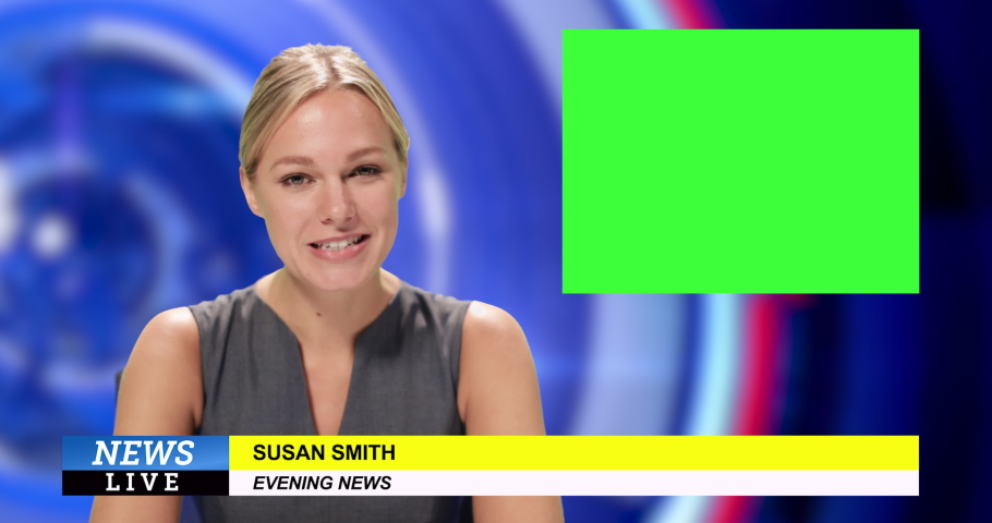 News presenter reading the evening news Royalty-Free Stock Footage #1034745635