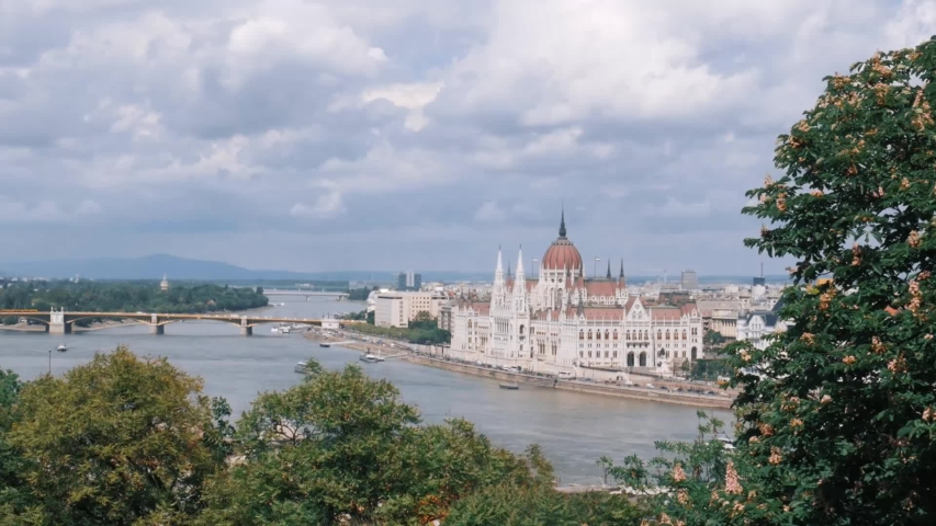Budapest with the Danube and the Parliament building, Hungary. Aerial view of Budapest. Time-lapse.  | Shutterstock HD Video #1034749844
