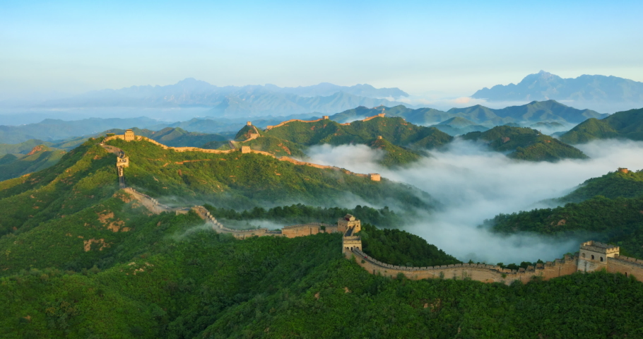 Flying over China great wall in the morning
