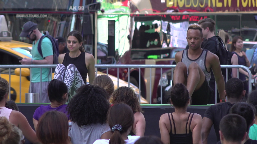 New York City, NY, USA - June 21, 2018 : Yoga Class In Times Square | Shutterstock HD Video #1034751767