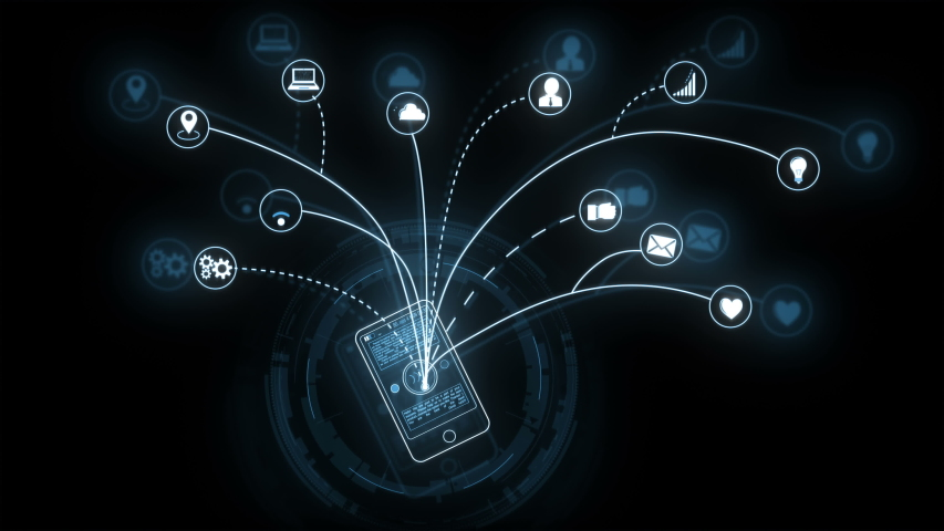 Digital smartphone with animated activities on screen and growing out network of icons. Communication Technology. Futuristic interface. Complex information of user activity. | Shutterstock HD Video #1034756447