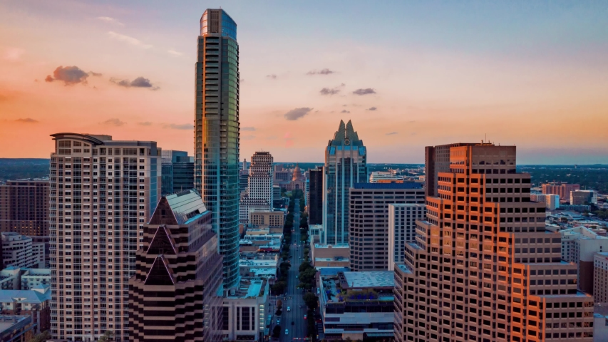 4K Drone Time Lapse Texas Capitol Austin Skyline 1st Street Dolly Zoom