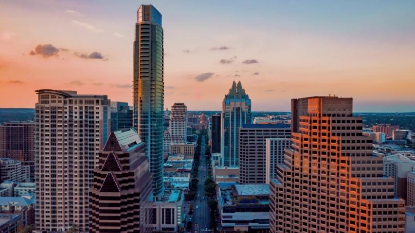 4K Drone Aerial Austin Texas Capital Timelapse Congress Dolly Zoom Parallax